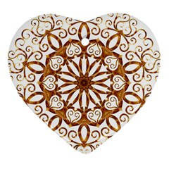 Golden Filigree Flake On White Heart Ornament (two Sides)