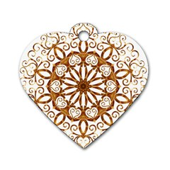 Golden Filigree Flake On White Dog Tag Heart (two Sides)