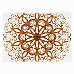 Golden Filigree Flake On White Large Glasses Cloth