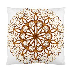 Golden Filigree Flake On White Standard Cushion Case (one Side)