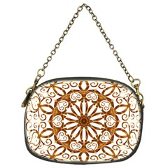 Golden Filigree Flake On White Chain Purses (Two Sides)