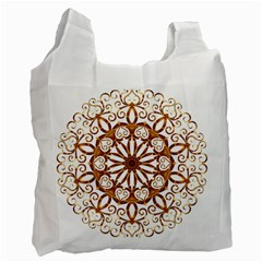 Golden Filigree Flake On White Recycle Bag (Two Side)