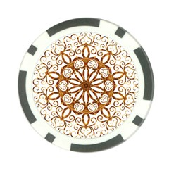 Golden Filigree Flake On White Poker Chip Card Guard (10 Pack)