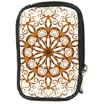 Golden Filigree Flake On White Compact Camera Cases Front