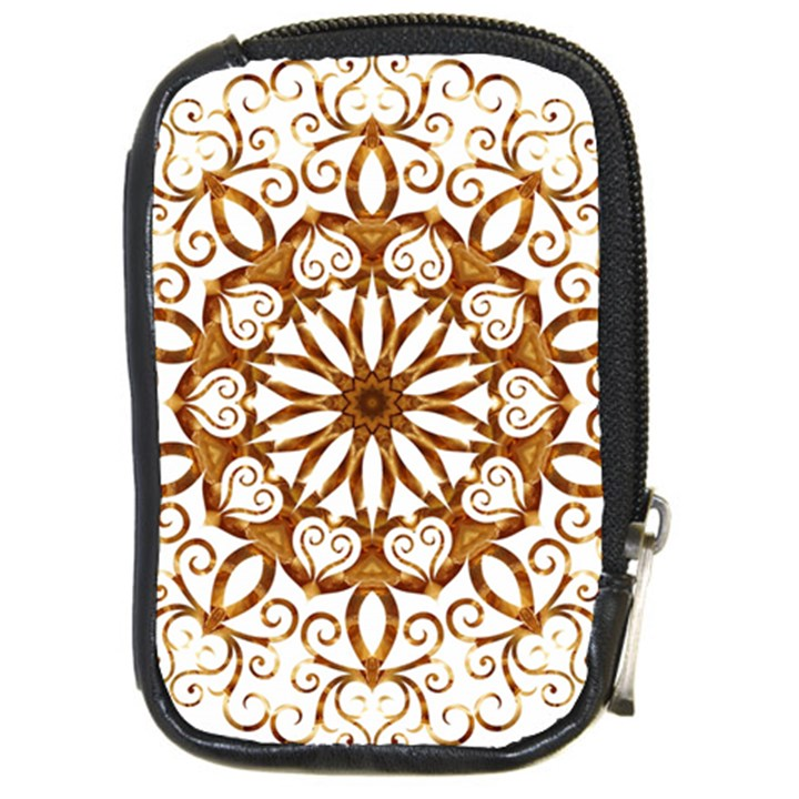 Golden Filigree Flake On White Compact Camera Cases