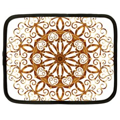 Golden Filigree Flake On White Netbook Case (XL)