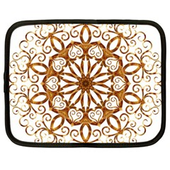Golden Filigree Flake On White Netbook Case (xxl)