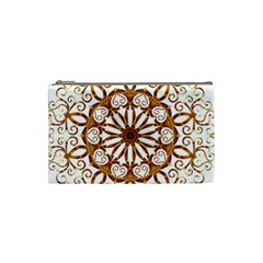 Golden Filigree Flake On White Cosmetic Bag (small)