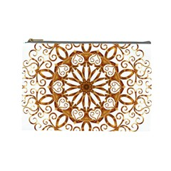 Golden Filigree Flake On White Cosmetic Bag (Large)