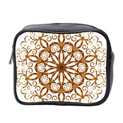 Golden Filigree Flake On White Mini Toiletries Bag 2-Side