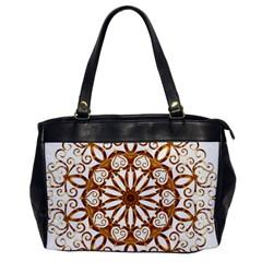 Golden Filigree Flake On White Office Handbags