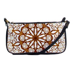 Golden Filigree Flake On White Shoulder Clutch Bags
