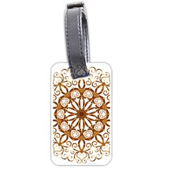 Golden Filigree Flake On White Luggage Tags (two Sides)