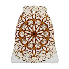 Golden Filigree Flake On White Bell Ornament (two Sides)