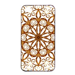 Golden Filigree Flake On White Apple Iphone 4/4s Seamless Case (black)