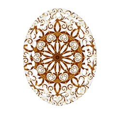 Golden Filigree Flake On White Oval Filigree Ornament (Two Sides)