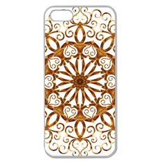 Golden Filigree Flake On White Apple Seamless Iphone 5 Case (clear)