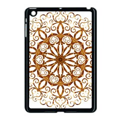 Golden Filigree Flake On White Apple Ipad Mini Case (black)