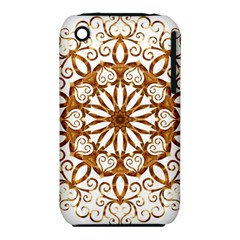 Golden Filigree Flake On White iPhone 3S/3GS