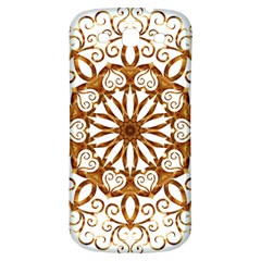 Golden Filigree Flake On White Samsung Galaxy S3 S III Classic Hardshell Back Case