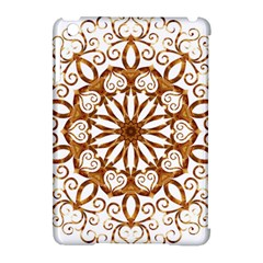 Golden Filigree Flake On White Apple Ipad Mini Hardshell Case (compatible With Smart Cover)
