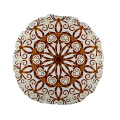Golden Filigree Flake On White Standard 15  Premium Round Cushions