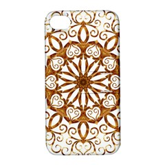Golden Filigree Flake On White Apple Iphone 4/4s Hardshell Case With Stand