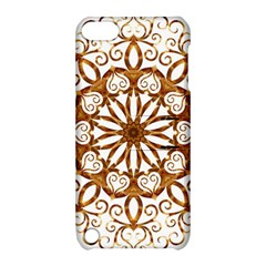 Golden Filigree Flake On White Apple Ipod Touch 5 Hardshell Case With Stand