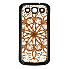 Golden Filigree Flake On White Samsung Galaxy S3 Back Case (Black)