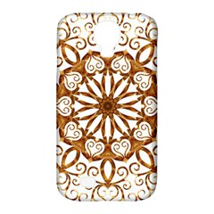 Golden Filigree Flake On White Samsung Galaxy S4 Classic Hardshell Case (pc+silicone)
