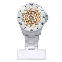 Golden Filigree Flake On White Plastic Nurses Watch
