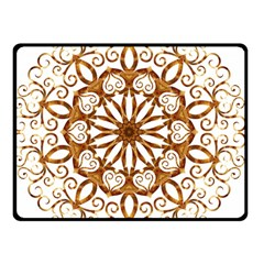 Golden Filigree Flake On White Double Sided Fleece Blanket (Small)