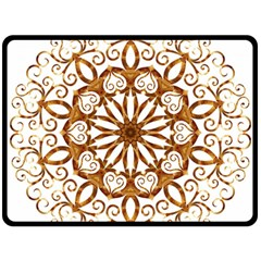 Golden Filigree Flake On White Double Sided Fleece Blanket (large)
