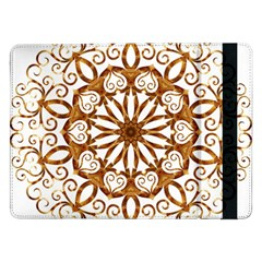 Golden Filigree Flake On White Samsung Galaxy Tab Pro 12 2  Flip Case