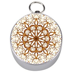 Golden Filigree Flake On White Silver Compasses