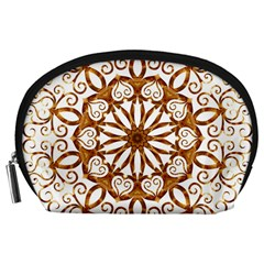 Golden Filigree Flake On White Accessory Pouches (large)