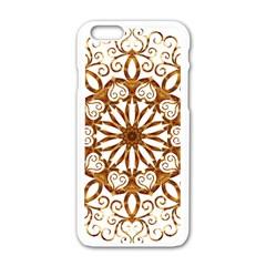 Golden Filigree Flake On White Apple iPhone 6/6S White Enamel Case