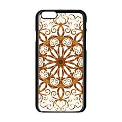 Golden Filigree Flake On White Apple Iphone 6/6s Black Enamel Case