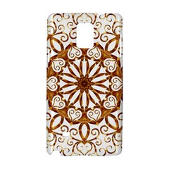 Golden Filigree Flake On White Samsung Galaxy Note 4 Hardshell Case