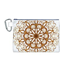 Golden Filigree Flake On White Canvas Cosmetic Bag (m)