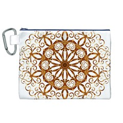 Golden Filigree Flake On White Canvas Cosmetic Bag (xl)