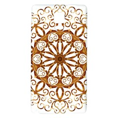 Golden Filigree Flake On White Galaxy Note 4 Back Case