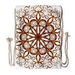 Golden Filigree Flake On White Drawstring Bag (Large)