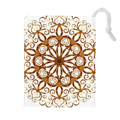 Golden Filigree Flake On White Drawstring Pouches (Extra Large)