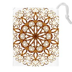 Golden Filigree Flake On White Drawstring Pouches (xxl)