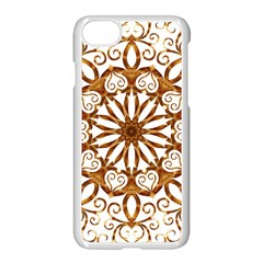Golden Filigree Flake On White Apple Iphone 7 Seamless Case (white)