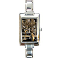 Fractal Image Of Copper Pipes Rectangle Italian Charm Watch