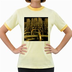 Fractal Image Of Copper Pipes Women s Fitted Ringer T-Shirts