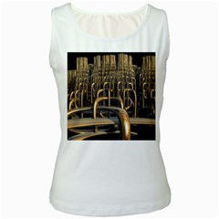 Fractal Image Of Copper Pipes Women s White Tank Top
