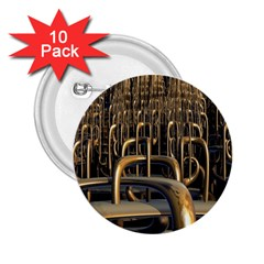 Fractal Image Of Copper Pipes 2.25  Buttons (10 pack)
